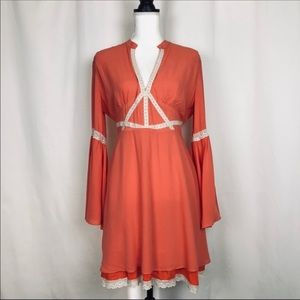 ⬇️NWT ARK & CO. Salmon Bell-Sleeve Dress Lace Trim